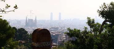 Sagrada Família Holy Family -seen from the Guell Park stock images