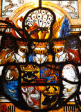 Güstrow. Coat of arms of the dukes of Mecklenburg on a stained glass window in the castle of Güstrow, northern Germany Stock Photos