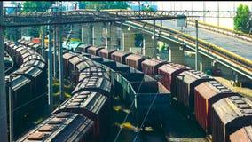 Güterzüge an einer Station stock footage