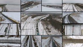 Güterzug-Überschreiten aerial Multiscreen-Montage stock video