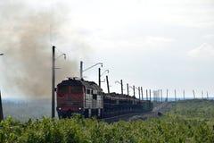 Güterzug auf der Nordeisenbahn Lizenzfreies Stockbild
