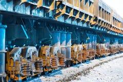 Güterzug, Blockwagen und Räder Lizenzfreie Stockbilder