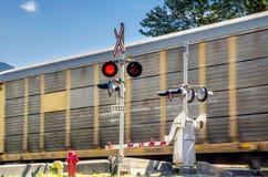 Güterzug an einem Niveauübergang Lizenzfreie Stockfotos