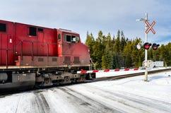 Güterzug an einem Schnee umfasste Bahnübergang Stockbilder