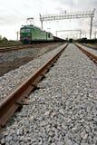 Güterzugplattform mit Container am Depotgebrauch für Import, Export, Logistikhintergrund Lizenzfreie Stockfotografie