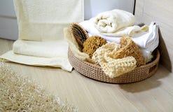gąbka koszykowi ręczniki Fotografia Royalty Free