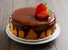 Gąbka tort z czekoladową śmietanką Zdjęcia Royalty Free