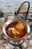 Gęsta zupa rybna od Baja (Węgry) Obrazy Royalty Free