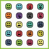Gęstej czerni linii kolorowi kwadratowi emoticons i ikony ustawiający ilustracji