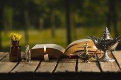 Gęsty książkowy lying on the beach otwarty na drewnianej powierzchni, małej brown butelce z, kwiatami, Aladin stylowymi lampami i Zdjęcia Stock