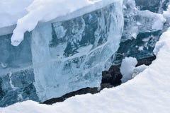 Gęsty lód na Ekulna jeziorze zdjęcie stock