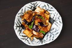 Gęsty smażący tofu i oberżyny miso Przyprawiał dłoniaka zdjęcia royalty free