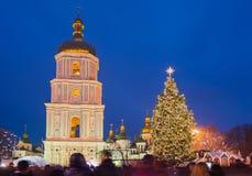 Główna choinka i Sofia kościół w Kyiv, Ukraina zdjęcia royalty free