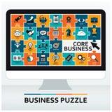 Główna działalność, sedno wartości ustawić symbole jednostek gospodarczych Płaskiego projekta wektorowy ilustracyjny pojęcie bizn Zdjęcia Stock