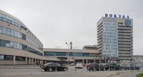 Główna stacja kolejowa Pasażery i transport są nearb Obrazy Royalty Free