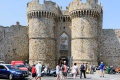 Główne wejście średniowieczny forteca Rhodes miasteczko na Rhodes wyspie, Grecja zdjęcia royalty free