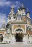 Główne wejście świętego Nicholas ortodox kościół w Ładnym obrazy stock