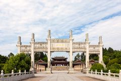 Główne wejście Dazu skały cyzelowania przy górą Baoding lub Baodingshan w Dazu okręgu, Chongqing obrazy stock