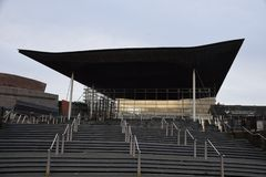 Główne wejście Senedd - Walijska zgromadzenie narodowe budowa Obraz Stock