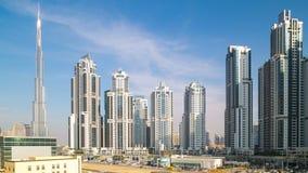 Głównego budynku widok od Dubai biznesu zatoki 4k czasu upływu zbiory
