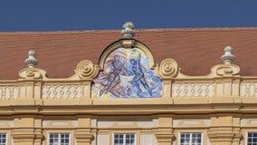 Głównej cnoty Temperance na fasadzie w prałata podwórzu Melk opactwo w Wachau dolinie, Niski Austria zdjęcie royalty free