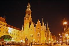 głównej noc Poland kwadratowy wroclaw Fotografia Royalty Free
