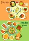 Główni naczynia dla lunchu i gościa restauracji ikony setu ilustracja wektor