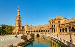 Główny budynek Plac De Espana, architektura kompleks w Seville, Hiszpania - obraz stock
