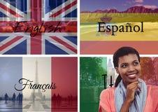 główny język zaznacza z nieprzezroczystością superimposed z wizerunkiem kraje i z słowami wokoło Zdjęcia Stock