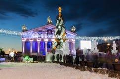 Główny miasto kwadrat z nowy rok iluminacją Zdjęcie Royalty Free