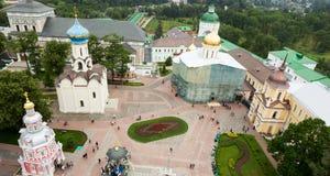 Główny plac Świętej trójcy St Sergius Lavra Odgórny widok Zdjęcie Stock