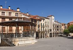 Główny plac Aranda De Duero, Burgos prowincja, Hiszpania fotografia stock