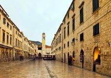 Główny plac w starym miasteczku - Dubrovnik, Chorwacja obraz royalty free
