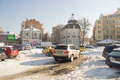 Główny plac w starym Pomorie, Bułgaria, zima 2017 Obrazy Royalty Free