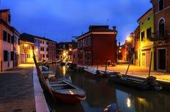 Główny wodny kanał mały Włoski miasteczko zdjęcie royalty free