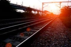 głębii śródpolny kolei płycizny ślad Zdjęcia Stock