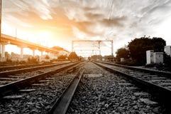 głębii śródpolny kolei płycizny ślad Fotografia Royalty Free