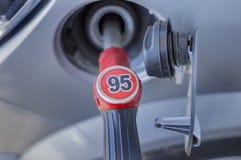 głębii pola pierwszy ostrości benzynowego nozzle nozzles pompy płycizny stacja Zdjęcia Stock
