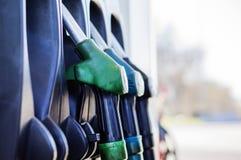 głębii pola pierwszy ostrości benzynowego nozzle nozzles pompy płycizny stacja Dla twój Fotografia Royalty Free