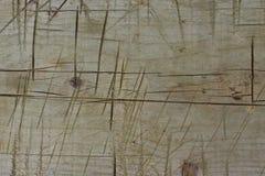 Głębocy ślada nóż na drewnianym ławki tekstury tle Obrazy Stock