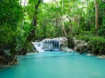 Głęboka lasowa siklawa w Tajlandia Erawan siklawie obrazy royalty free