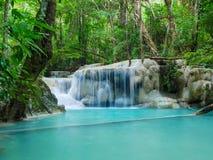 Głęboka lasowa siklawa w Tajlandia Erawan siklawie Obraz Stock