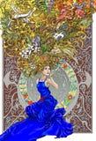 głęboka myśli piękna kobieta ilustracja wektor