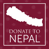 Głęboki - czerwień daruje Nepal sztandar z mapą Zdjęcia Stock