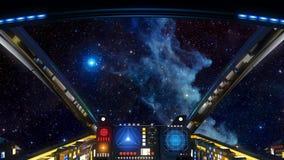 Głęboki eksploracja przestrzeni kosmicznej kokpitu widok ilustracji