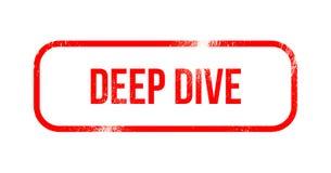 Głęboki nur - czerwona grunge guma, znaczek ilustracji