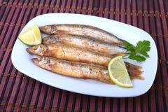 Głęboki smaży mały rybi gromadnik i pokrojona cytryna na bielu talerzu Dobra przekąska piwo Zdjęcia Stock