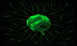 Głęboki szkolenie i neural sieci wokoło mózg ilustracji