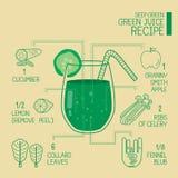 Głęboki - zielenieje, zieleni soków przepisy wielcy detoxify Obrazy Royalty Free