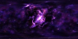 Głębokiej przestrzeni mgławica i gwiazdy 360 stopni panorama ilustracja wektor